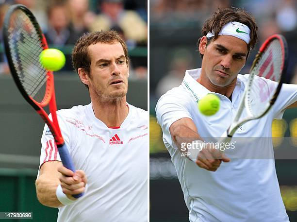 A combination of photographs created on July 7 2012 shows Switzerland's Roger Federer playing a backhand shot during his men's singles quarterfinal...