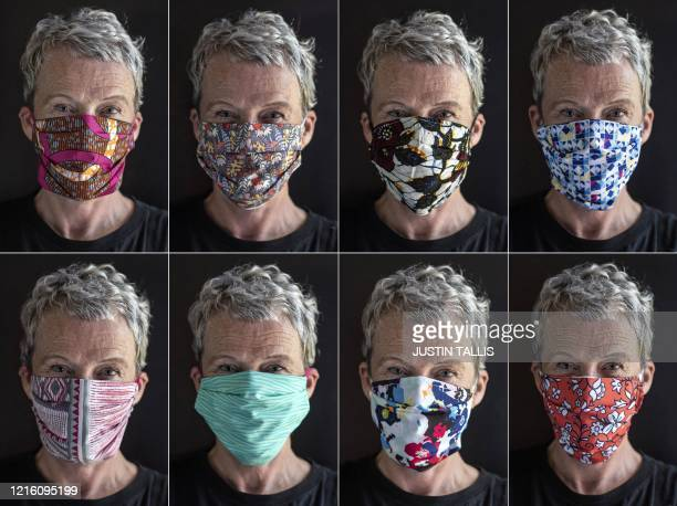 A combination of photographs shows textile designer Corinne McManus cofounder of the sewing collective Masks for Extraordinary People posing for...