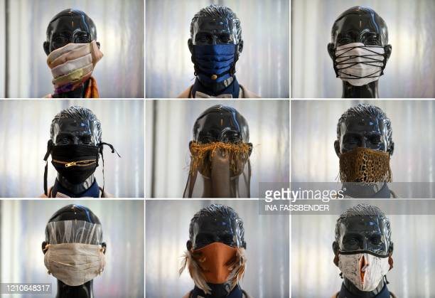 TOPSHOT A combination of photos shows fashion protective face masks on display at Wolfgang Schinke's tailoring studio in Krefeld western Germany on...