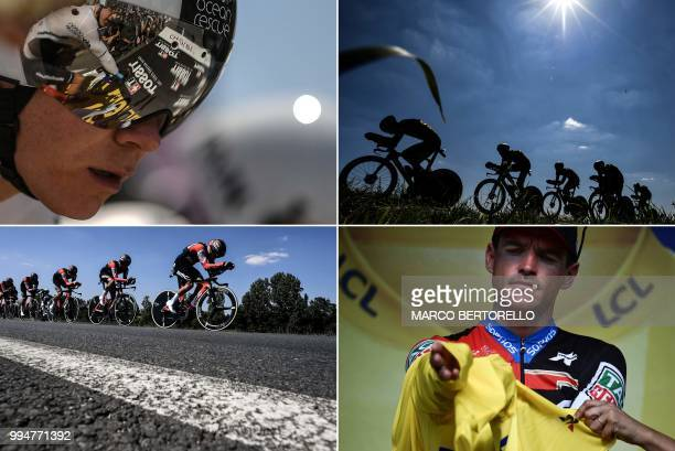 A combination of photos taken on July 9 2018 during the third stage of the 105th edition of the Tour de France cycling race a 355 km team timetrial...