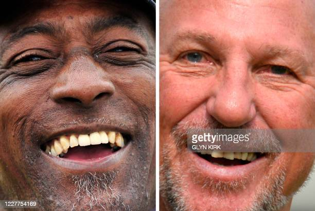 Combination of picture created in London on July 23, 2020 shows West Indies' cricket legend Sir Viv Richards being interviewed before the fourth day...