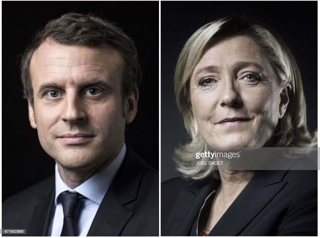 A combination of picture made on April 23, 2017 shows French presidential election candidate for the En Marche ! movement Emmanuel Macron and French presidential election candidate for the far-right Front National (FN) party Marine Le Pen posing in Paris. Emmanuel Macron and Marine Le Pen are shown ahead in the French presidential race, in a projection announced on April 23, 2017. / AFP PHOTO / Joël SAGET AND Eric Feferberg