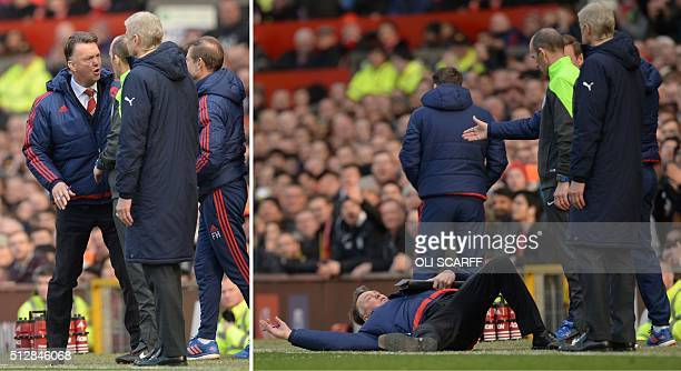 A combination of pictures created and taken on February 28 2016 shows Manchester United's Dutch manager Louis van Gaal having words with fourth...