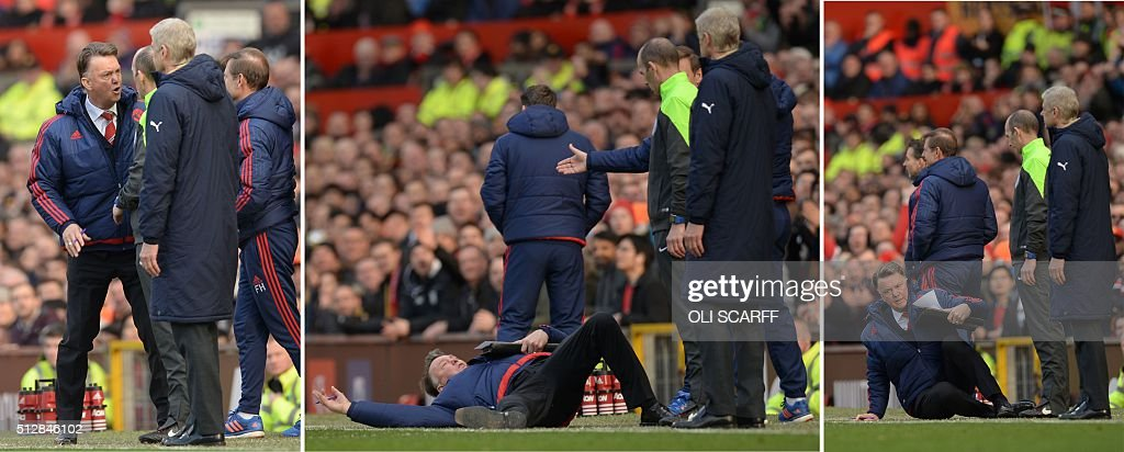 TOPSHOT - A combination of pictures created and taken on February 28, 2016 shows Manchester United's Dutch manager Louis van Gaal (L) having words with fourth official Mike Dean on the touchline before falling over on the floor and Van Gaal falling over (C) and Van Gall getting up (R) during the English Premier League football match between Manchester United and Arsenal at Old Trafford in Manchester in north west England on February 28, 2016. / AFP / OLI SCARFF / RESTRICTED TO EDITORIAL USE. No use with unauthorized audio, video, data, fixture lists, club/league logos or 'live' services. Online in-match use limited to 75 images, no video emulation. No use in betting, games or single club/league/player publications. / AFP / OLI