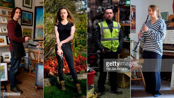A combination of pictures created in London and taken on March 27 2020 shows selfemployed people Kevin Threlfall an artist who has a studio in the...