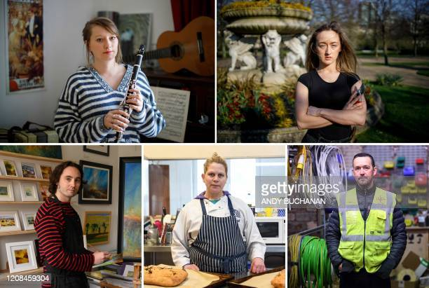 A combination of pictures created in London and taken on March 27 2020 shows selfemployed people Alice Mary Williamson Jelaska a freelance musician...