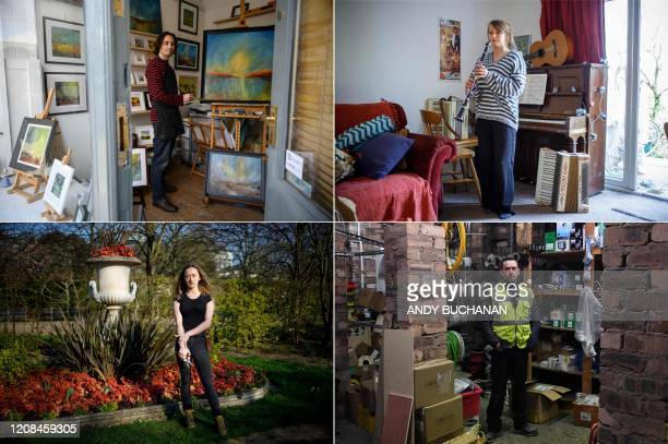 Combination of pictures created in London and taken on March 27, 2020 shows self-employed people; Kevin Threlfall an artist who has a studio in the...