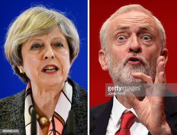 A combination of pictures created in London on April 18 2017 shows British Prime Minister and Conservative Party leader Theresa May speaking at a...