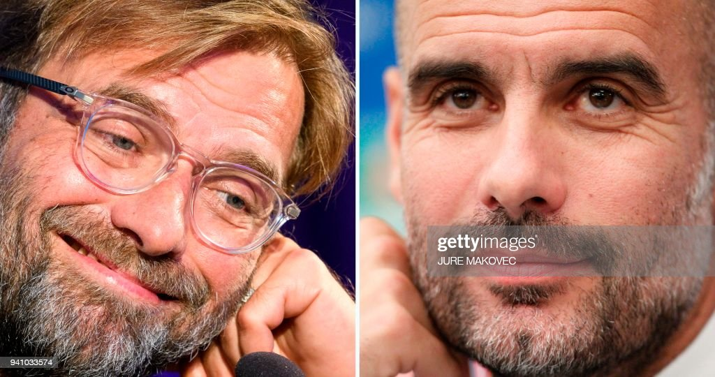 A combination of pictures created in London on April 2, 2018 shows Liverpools head coach Jurgen Klopp holds (L) at a press conference on the eve of the UEFA Champions League Group E football match between Maribor and Liverpool on October 16, 2017, in Maribor and Manchester City's Spanish coach Pep Guardiola (R) at a press conference on the eve of the UEFA Champions League football match Napoli vs Manchester City, on October 31, 2017 in Naples. Jurgen Klopp has no qualms about saluting Pep Guardiola's ability to create 'extraordinary' teams, but the Liverpool boss is convinced he can bridge the class divide when Manchester City visit Anfield for their Champions League showdown. Having first gone head to head with Borussia Dortmund and Bayern Munich, the friendly rivalry between Klopp and Guardiola has its biggest stage yet as Liverpool face City in the Champions League quarter-final first leg on on April 4, 2018. PHOTO / Jure Makovec AND Carlo HERMANN