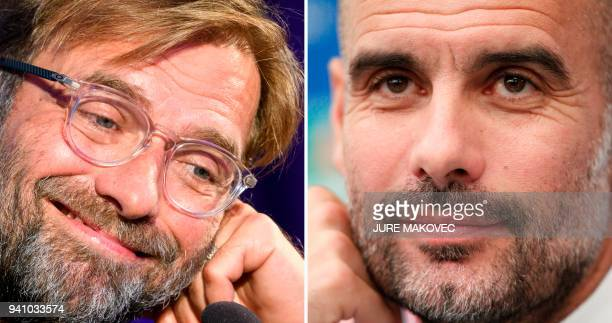 A combination of pictures created in London on April 2 2018 shows Liverpools head coach Jurgen Klopp holds at a press conference on the eve of the...