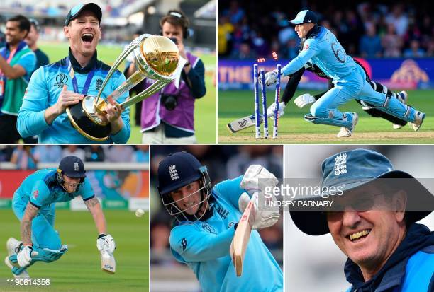 Combination of pictures created in London on December 27, 2019 shows England's World Cup cricket captain Eoin Morgan celebrating with the Cricket...