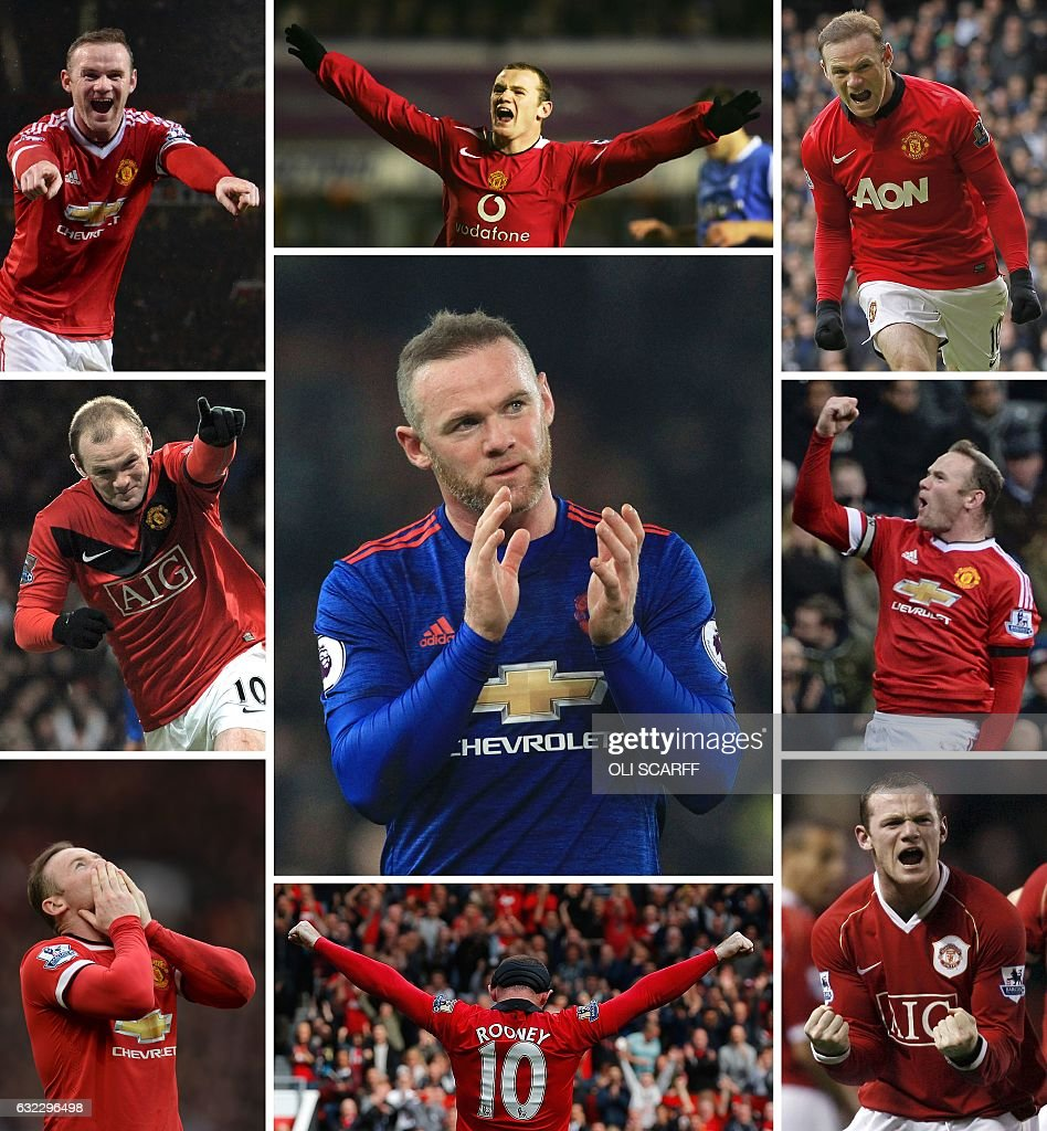 A combination of pictures created in London on January 21, 2017 shows Manchester United's English striker Wayne Rooney celebrating scoring (clockwise from top L) against Swansea City at Old Trafford on January 2, 2016, Birmingham City at St Andrews on December 28, 2005, Tottenham Hotspur at White Hart Lane on December 1, 2013, Newcastle United at St James' Park on January 12, 2016, Portsmouth at Old Trafford January 27, 2007, Crystal Palace at Old Trafford on September 14, 2013, Aston Villa at Old Trafford on April 4, 2015, Wigan Athletic at Old Trafford on December 30, 2009 and Wayne Rooney (C) applauding at the end of the match after earning United a late 1-1 draw by scoring his 250th goal for the club against Stoke City at the BET365 stadium in Stoke-on-Trent on January 21, 2017. Wayne Rooney became Manchester United's all-time leading goal-scorer on January 21, 2017 when he netted his 250th goal for the club against Stoke City. / AFP / RESTRICTED TO EDITORIAL USE. No use with unauthorized audio, video, data, fixture lists, club/league logos or 'live' services. Online in-match use limited to 75 images, no video emulation. No use in betting, games or single club/league/player publications. /