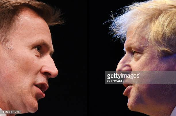 Combination of pictures created in London on July 19, 2019 shows the two British Conservative Party leadership candidates; Boris Johnson giving a...
