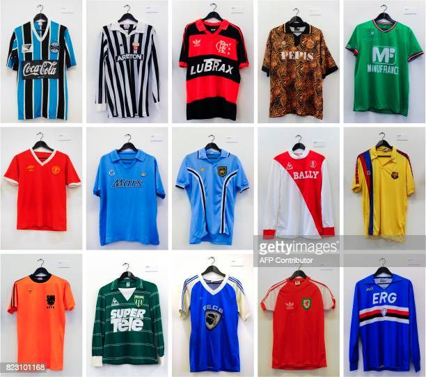 A combination of pictures created in London on July 26 2017 shows football shirts at an exhibition entitled The Art of the Football Shirt at a...