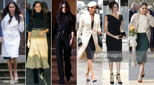 A combination of pictures created in London on July 30 2018 shows a Britain's Meghan Duchess of Sussex wearing outfits while attending events and...