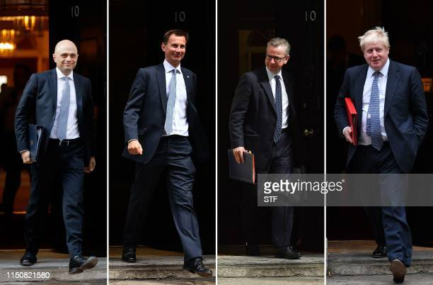 A combination of pictures created in London on June 19 2019 shows the remaining four contenders in the contest for leader of the Conservative party...
