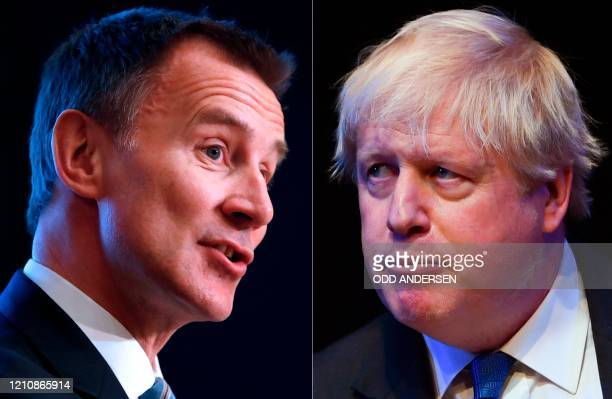 Combination of pictures created in London on June 21, 2019 shows Britain's Foreign Secretary Jeremy Hunt giving a speech at the Konrad-Adenauer...