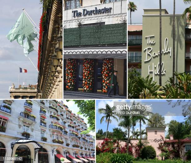 A combination of pictures created in London on March 31 2019 shows the facades of five of the nine Dorchester Collection hotels owned by Brunei Hotel...