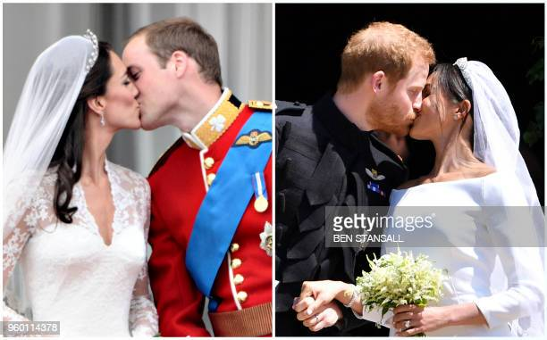 A combination of pictures created in London on May 19 2018 shows Britain's Prince William Duke of Cambridge kissing his wife Catherine Duchess of...
