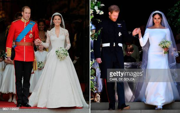 A combination of pictures created in London on May 19 2018 shows Britain's Prince William Duke of Cambridge and his new wife Catherine Duchess of...