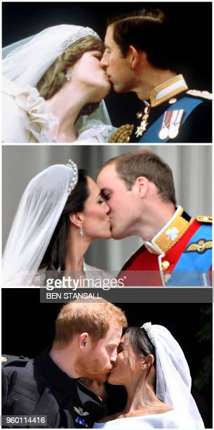 Combination of pictures created in London on May 19, 2018 shows Britain's Prince Charles kissing his bride Diana, Princess of Wales during their...