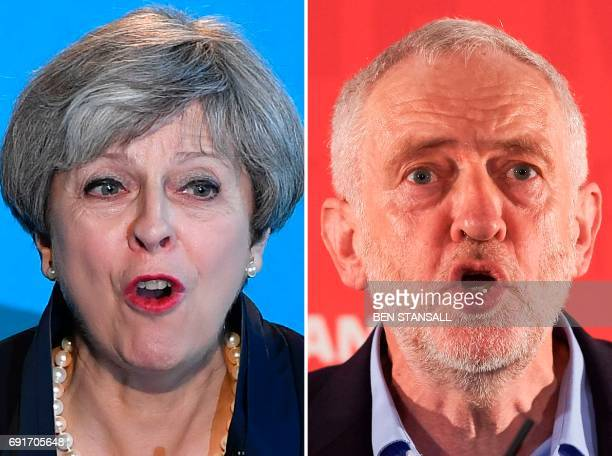 A combination of pictures created in London on May 31 2017 Britain's Prime Minister Theresa May speaking during an event to launch the Conservative...