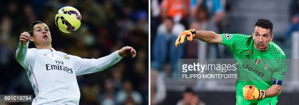 A combination of pictures created in London on May 31 2017 Real Madrid's Portuguese forward Cristiano Ronaldo controlling the ball during the Spanish...
