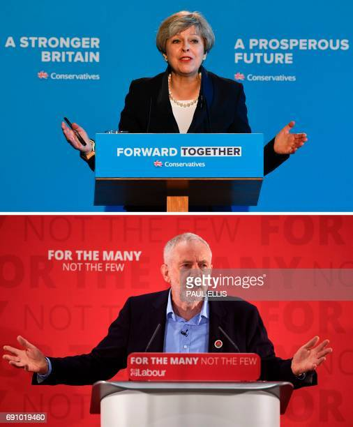 A combination of pictures created in London on May 31 2017 shows Britain's Prime Minister Theresa May speaking during an event to launch the...