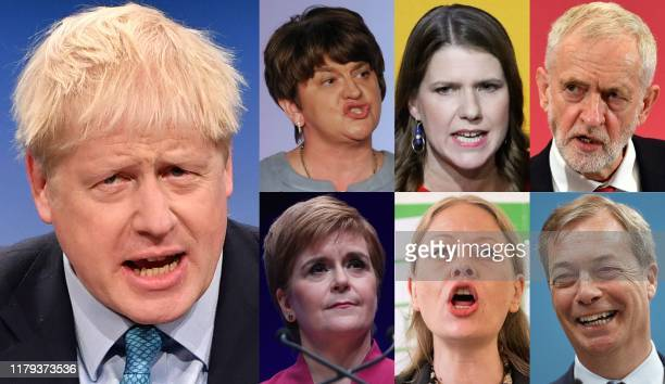 A combination of pictures created in London on November 1 2019 shows political party leaders whose members will be vying for seats in the House of...