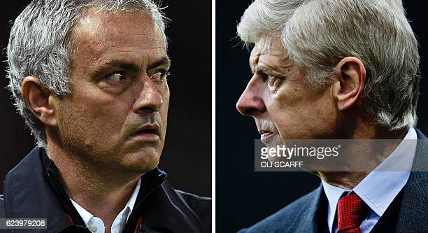 A combination of pictures created in London on November 17 2016 shows Manchester United's Portuguese manager Jose Mourinho arriving for the English...