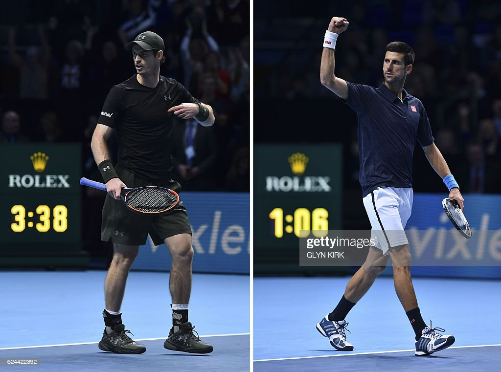 A combination of pictures created in London on November 19, 2016 shows Britain's Andy Murray (L) celebrating winning his semi-final against Canada's Milos Raonic with the clock showing the match took 3 hours and 38 minutes, the longest match in Tour Finals history, and Serbia's Novak Djokovic (R) celebrating beating Japan's Kei Nishikori in 1 hour and six minutes in the second semi-final on day seven of the ATP World Tour Finals tennis tournament in London on November 19, 2016. / AFP / Glyn KIRK