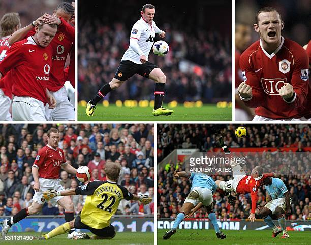 A combination of pictures created in London on November 27 2016 shows five memorable goals by Manchester United's English striker Wayne Rooney The...