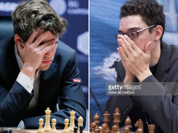 A combination of pictures created in London on November 6 2018 shows Magnus Carlsen of Norway playing against Sergey Karjakin Russian chess...