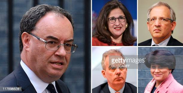 A combination of pictures created in London on October 14 2019 shows Chief Executive Officer of the Financial Conduct Authority Andrew Bailey Bank of...