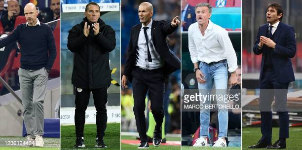 Combination of pictures created in London on October 25, 2021 shows Ajax Amsterdam's Dutch head coach Erik Ten Hag in Amsterdam on September 28...