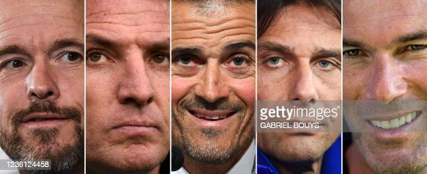 Combination of pictures created in London on October 25, 2021 shows Ajax Amsterdam's Dutch head coach Erik Ten Hag, Leicester City's Northern Irish...