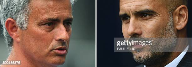 A combination of pictures created in London on September 8 2016 shows Manchester United's Portuguese manager Jose Mourinho speaking to media before a...