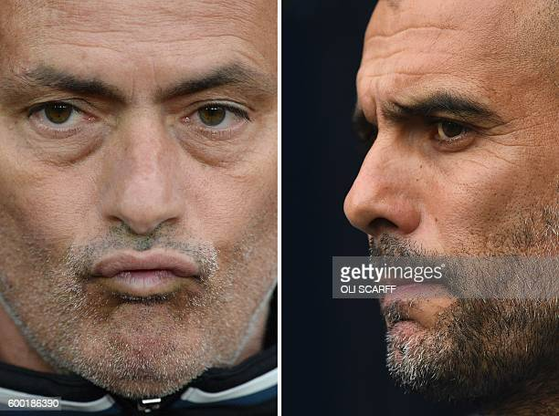 A combination of pictures created in London on September 8 2016 shows Manchester United's Portuguese manager Jose Mourinho reacting as he waits for...