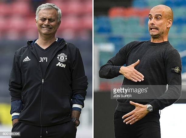 A combination of pictures created in London on September 8 2016 shows Manchester United's Portuguese manager Jose Mourinho reacting during the...