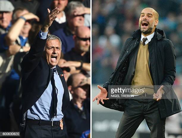 A combination of pictures created in London on September 8 2016 shows Chelsea's Portuguese manager Jose Mourinho reacting during the English Premier...
