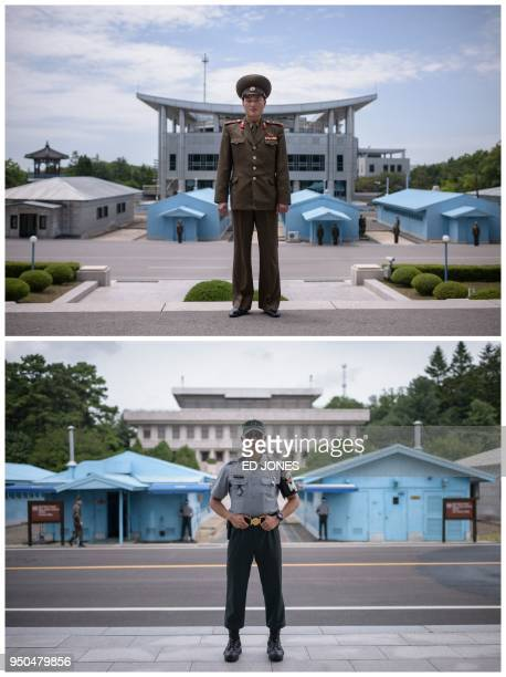TOPSHOT A combination of pictures created on April 23 2018 shows Korean People's Army soldier Lieutenant Kim posing for a portrait on the north side...