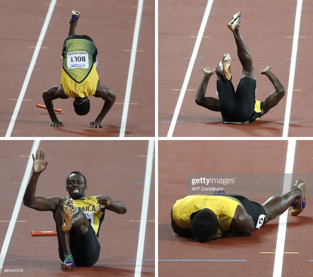 A combination of pictures created on August 13, 2017 shows Jamaica's Usain Bolt pulling up injured and rolling on the track in the men's 4x100m relay athletics event at the 2017 IAAF World Championships at the London Stadium in London on August 12, 2017. Usain Bolt's glittering career swansong came crashing to an end when he pulled up injured on the anchor leg of the world 4x100m relay won by Britain on Saturday. Bolt received the baton with Jamaica in third, but halfway down the finishing straight the towering sprinter pulled up clutching his left thigh, eventually doing a forward roll to the ground, to gasps from the 60,000 sell out London Stadium. PHOTO / Adrian DENNIS