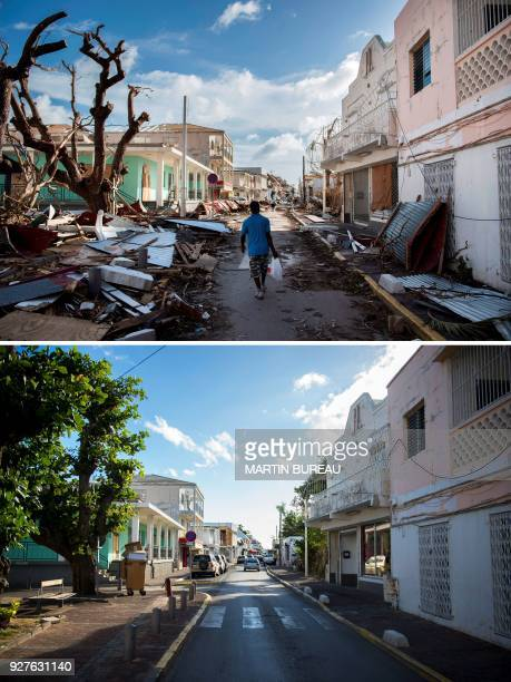 A combination of pictures created on March 2 2018 shows a man walking on a street covered in debris after the passage of Hurricane Irma on September...