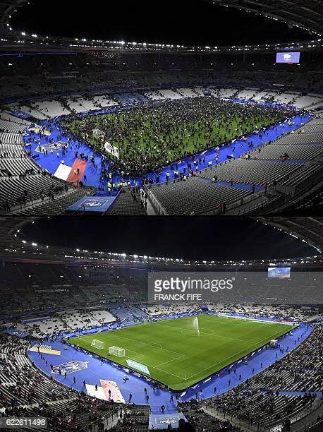 A combination of pictures created on November 12 2016 shows a file picture of spectators gathering on the pitch of the Stade de France stadium...