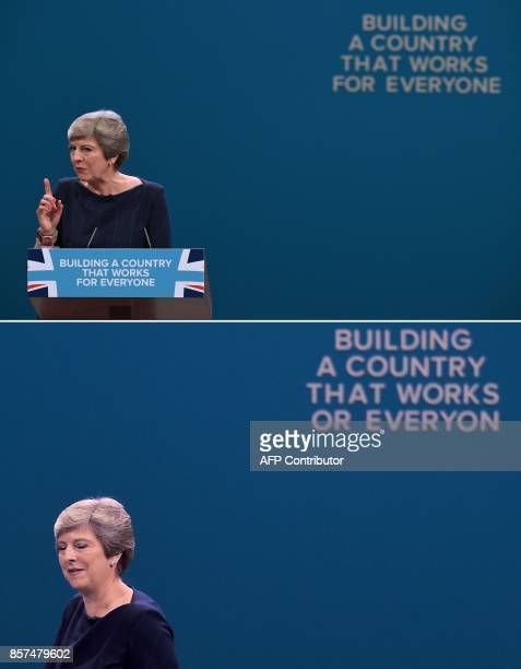 A combination of pictures created on October 4 shows the complete slogan and the slogan missing the letters 'F' and 'E' as Britain's Prime Minister...