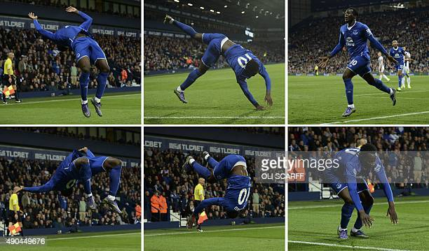 A combination of pictures created on September 28 2015 shows Everton's Belgian striker Romelu Lukaku doing a flip and backwards somersault as he...