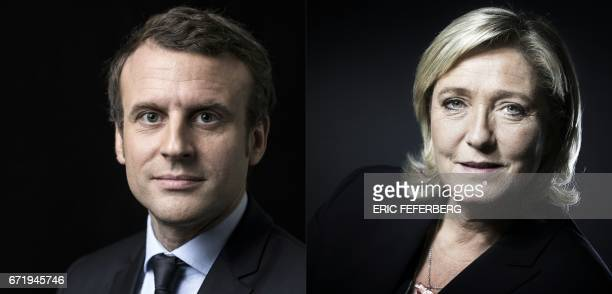 A combination of pictures made on April 23 2017 shows French presidential election candidate for the En Marche movement Emmanuel Macron and French...