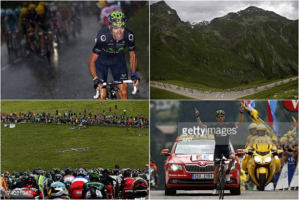 A combination of pictures made on July 19 2013 in Le GrandBornand shows Spain's Alejandro Valverde riding in a heavy rain the pack riding supporters...