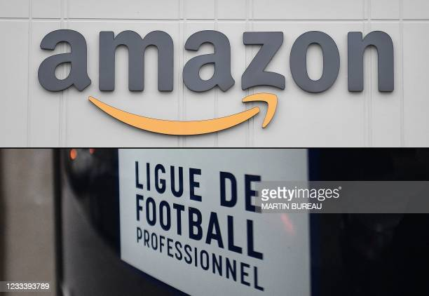 Combination of pictures made on June 11, 2021 shows the logo of US online retail giant Amazon at the distribution center in Staten Island on March...