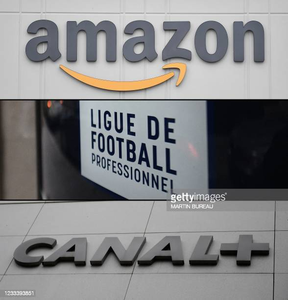 Combination of pictures made on June 11, 2021 shows the logo of US online retail giant Amazon at the distribution center in Staten Island on March 30...